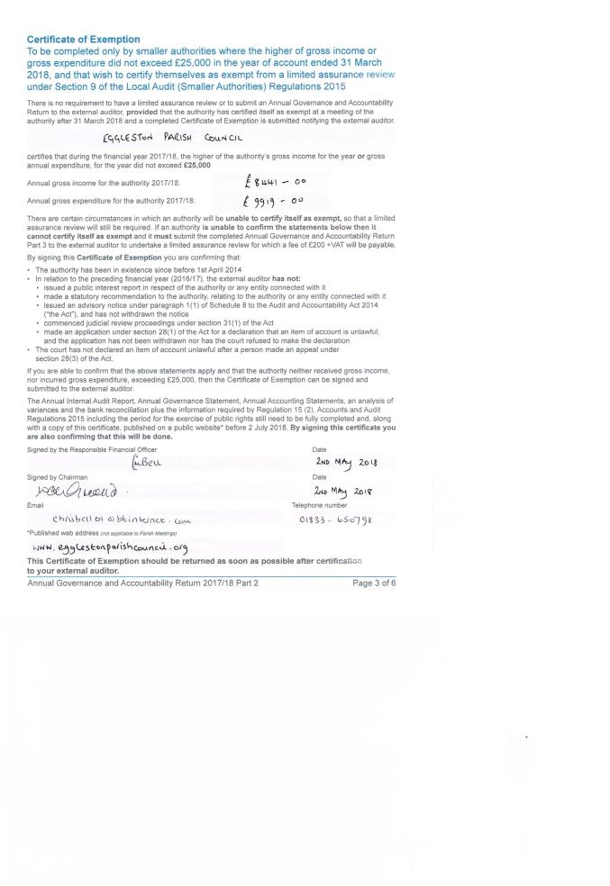 Eggleston - Certificate of exemption 001